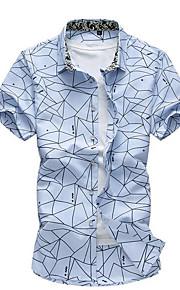 رجالي قطن قميص نحيل طباعة هندسي أبيض XXXXL / كم قصير / الصيف