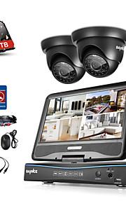 sannce® 4ch dvr kits surveillance beveiligingssysteem met 2 720p dome camera met 1tb hdd