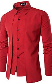 Hombre Tejido Oriental Algodón Camiseta, Cuello Alto Un Color Negro M / Manga Larga / Verano