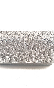 Women's Bags PVC Satin Evening Bag Crystal Detailing for Event/Party All Seasons Blue Gold Silver