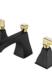 Luxe 3-gats kraan Mat Keramische ventiel Twee handgrepen drie gaten Schilderen, Wastafel kraan