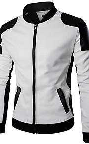 男性用 日常 / 週末 冬 レギュラー レザージャケット, カラーブロック スタンド 長袖 ポリウレタン ホワイト / ブラック XXXL / 4XL / XXXXXL / スリム