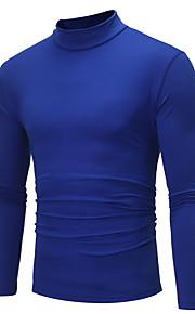 Hombre Activo / Básico / Chic de Calle Fiesta / Deportes / Trabajo Algodón Camiseta, Escote Chino Un Color Azul Marino XL / Manga Larga / Otoño / Invierno / Discoteca