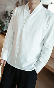 男性用 プラスサイズ シャツ アジアン・エスニック ソリッド コットン / 長袖