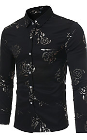 男性用 プリント シャツ レギュラーカラー スリム フラワー / 長袖
