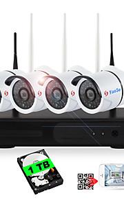 yanse® indbygget 1 tb hdd 4ch trådløst nvr kits 720p vandtæt ir nattesyn sikkerhed wifi ip kamera 36leds overvågning cctv system hjem