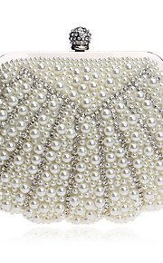 Women's Bags Polyester Evening Bag Crystal Detailing Pearl Detailing for Wedding Event/Party All Seasons White Black Beige