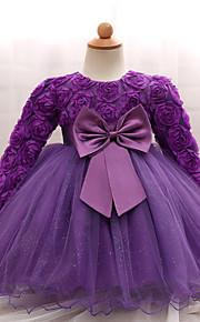 아가 여아 파티 / 생일 한 색상 긴 소매 보통 면 / 폴리에스테르 드레스 블러슁 핑크
