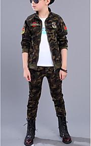 Çocuklar Genç Erkek kamuflaj Uzun Kollu Normal Pamuklu Kıyafet Seti Ordu Yeşili
