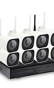 8ch trådløse nvr kits 36leds vandtæt ir nattesyn sikkerhed wifi ip kamera overvågning cctv system 720p