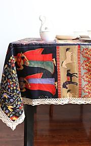 Mélange Lin/Coton Suorakulma Neliö Table Cloths Boheemityyli Ekologinen Pöytäkoristeet