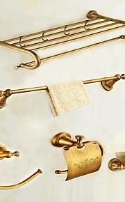 Bad Zubehör-Set Gute Qualität Antike Messing 5 Stück - Hotelbad Toilettenbürstehalter Turmring Turm Bar Toilettenpapierhalter Wandmontage