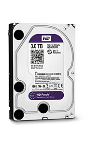 WD® Hard Diske WD30PURX 3TB (IntelliPower 64MB Cache) purple drive 3.5-inch HDD Surveillance for CCTV NVR for Sikkerhed Systemer 18*13cm