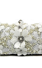 Women's Bags Polyester Evening Bag Pearl Detailing Flower for Wedding Event/Party All Seasons White