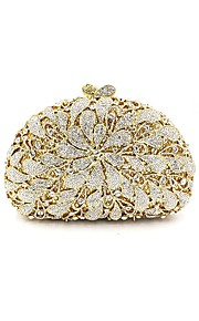 Women's Bags Metal Evening Bag Crystal Detailing Flower for Wedding Event/Party All Seasons Gold