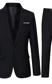 Men's Daily Fall Regular Suits, Solid Colored Shirt Collar Long Sleeve Cotton / Polyester Black XL / XXL / XXXL