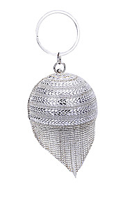 Women's Bags Polyester Evening Bag Crystal Detailing Tassel for Wedding Event/Party All Seasons Silver