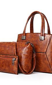 Women's Bags PU Bag Set 3 Pcs Purse Set Zipper for Office & Career Outdoor All Seasons Blue Black Red Gray Brown