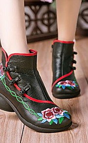 Women's Shoes PU Winter Comfort Boots Flat Heel Round Toe Closed Toe Mid-Calf Boots for Casual Black Red