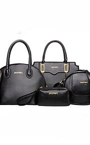 Women's Bags PU Bag Set 6 Pieces Purse Set Zipper for Casual Office & Career All Seasons Blue White Black Red Fuchsia