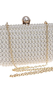 Women's Bags Polyester ABS+PC Evening Bag Pearl Detailing for Wedding Event/Party All Seasons Beige