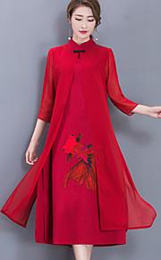 עומד מידי מפוצל דפוס, גיאומטרי - שמלה נדן שיפון וינטאג' סגנון סיני בוהו עבודה ליציאה בגדי ריקוד נשים