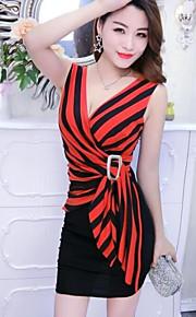 שחור ואדום צווארון V מותניים גבוהים מיני פסים - שמלה צינור חגים בגדי ריקוד נשים