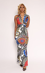 V עמוק מותניים גבוהים מקסי דפוס שמלה גזרת A בגדי ריקוד נשים