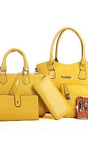 Women's Bags PU Bag Set 6 Pieces Purse Set Zipper for Casual Outdoor Spring Fall Black Beige Yellow Fuchsia Wine