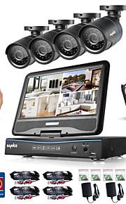 Sannce® 8ch 4pcs 720p lcd dvr weerbestendig beveiligingssysteem ondersteund analoge ahd tvi ip camera 1tb