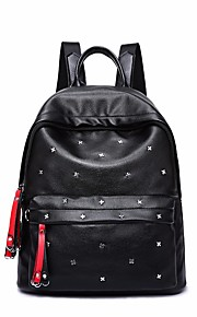 Women's Bags PU Cotton Backpack Beading Zipper for Casual All Seasons Black