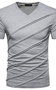 남성용 솔리드 V 넥 슬림 티셔츠, 베이직 / 스트리트 쉬크 블랙 L / 짧은 소매 / 봄 / 여름