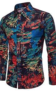 男性用 プリント プラスサイズ シャツ ボヘミアン ワイドカラー スリム 抽象的 リネン / 長袖