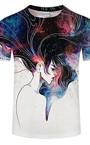 男性用 プリント プラスサイズ Tシャツ ラウンドネック ポートレート / 半袖
