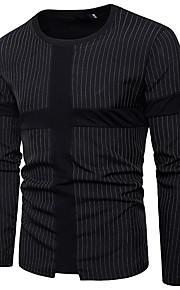 Муж. Футболка Хлопок, Круглый вырез Тонкие Уличный стиль Полоски Черный XL / Длинный рукав / Весна / Лето