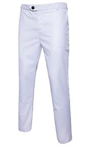 男性用 ベーシック プラスサイズ コットン スリム スーツ パンツ - ソリッド ホワイト / ワーク