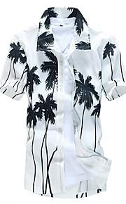 Pánské Plážové Větší velikosti Košile, Tisk Široký límeček Štíhlý Bílá XXXL / Krátký rukáv / Léto
