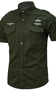 男性用 ベーシック プラスサイズ シャツ 軍隊 レギュラーカラー スリム ソリッド コットン / 半袖