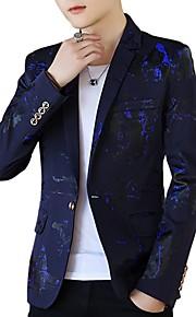 Miesten Party / Pyhäpäivä Aktiivinen Kevät / Kesä Normaali Bleiseri, Painettu Paitapuserokaula-aukko Pitkähihainen Polyesteri Rubiini / Laivaston sininen / Purppura XL / XXL / XXXL