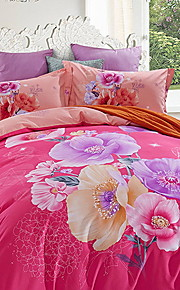 Duvet Cover Sets Floral 4 Piece Poly/Cotton Jacquard Poly/Cotton 1pc Duvet Cover 2pcs Shams 1pc Flat Sheet