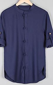 Муж. Классический Рубашка Лён, Воротник-стойка Активный Однотонный Бежевый XXXL / Длинный рукав
