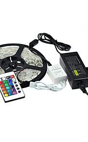 1x5M RGB ленты 300pcs светодиоды 1 пульт дистанционного управления 24Keys 1 адаптер питания X 5A RGB Можно резать Водонепроницаемый