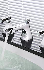욕실 싱크 수도꼭지 - 와이드 스프레드 크롬 와이드 스프레드 두 핸들 세 개의 구멍