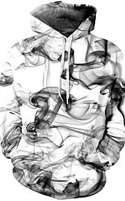 Муж. Уличный стиль / Шинуазери (китайский стиль) Брюки - Геометрический принт / 3D Белый / Капюшон / Длинный рукав / Осень