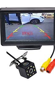 BYNCG WG4.3T-8LED 4.3 tommer (ca. 11cm) TFT-LCD 480TVL 480p 1/4 tommer CMOS PC7030 Ledning 120 grader 1pcs 120° 0.3inch Bil bagside sæt