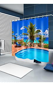 シャワーカーテン&フック コンテンポラリー 近代の ポリエステル 現代風 ノベルティ柄 機械製 防水 浴室