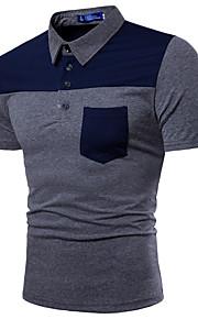 Pánské - Barevné bloky Polo Bavlna Košilový límec Černá XL / Krátký rukáv