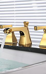 バスルームのシンクの蛇口 - 組み合わせ式 ゴールデン 組み合わせ式 二つのハンドル三穴