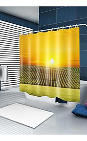シャワーカーテン&フック コンテンポラリー カジュアル ポリエステル ソリッド 現代風 機械製 防水 浴室