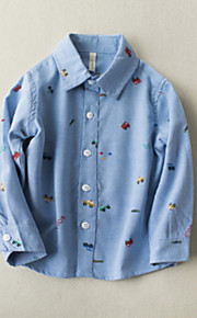 Barn Pojkar Aktiv Dagligen Tryck Tryck Långärmad Normal Bomull Polyester Skjorta Blå